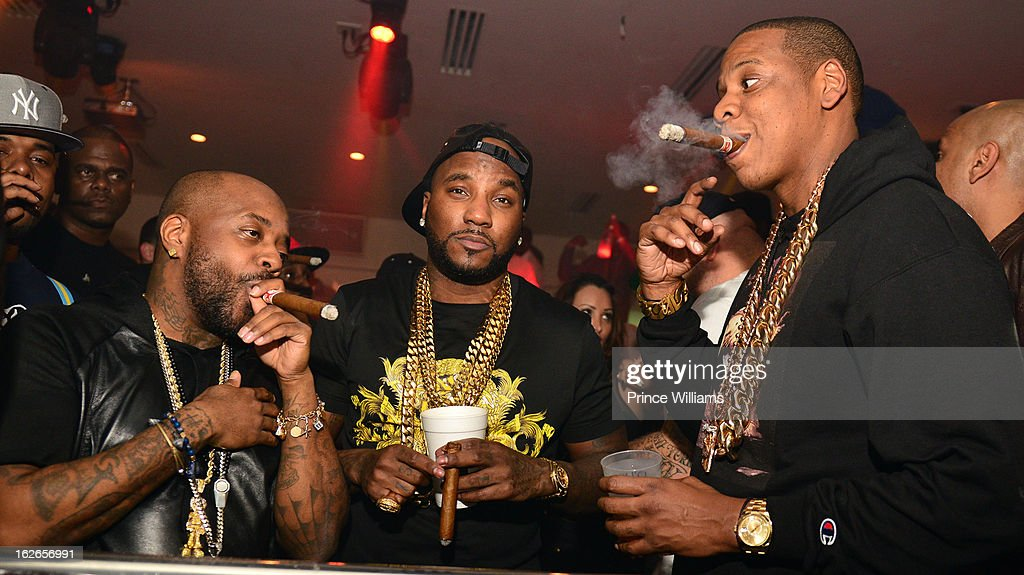 Jermain Dupri, Young Jeezy and Jay-Z attend the So So Def anniversary party hosted by Jay Z at Compound on February 23, 2013 in Atlanta, Georgia.