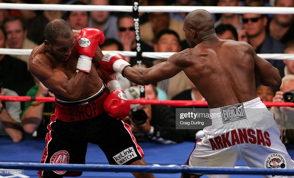 <a gi-track='captionPersonalityLinkClicked' href=/galleries/search?phrase=Jermain+Taylor+-+Boxer&family=editorial&specificpeople=13524202 ng-click='$event.stopPropagation()'>Jermain Taylor</a> (white trunks) and <a gi-track='captionPersonalityLinkClicked' href=/galleries/search?phrase=Bernard+Hopkins&family=editorial&specificpeople=171200 ng-click='$event.stopPropagation()'>Bernard Hopkins</a> (black trunks) met once again December 3, 2005 at the Mandalay Bay Resort in Las Vegas, Nevada to decide, once and for all, the Undisputed World Middeweight Boxing Championship. The aptly named 'No Respect' rematch aired live on HBO Pay-Per-View. Defending Champion <a gi-track='captionPersonalityLinkClicked' href=/galleries/search?phrase=Jermain+Taylor+-+Boxer&family=editorial&specificpeople=13524202 ng-click='$event.stopPropagation()'>Jermain Taylor</a> would go on to retain his title after twelve rounds and a unanimous decision in his favor from the judges.