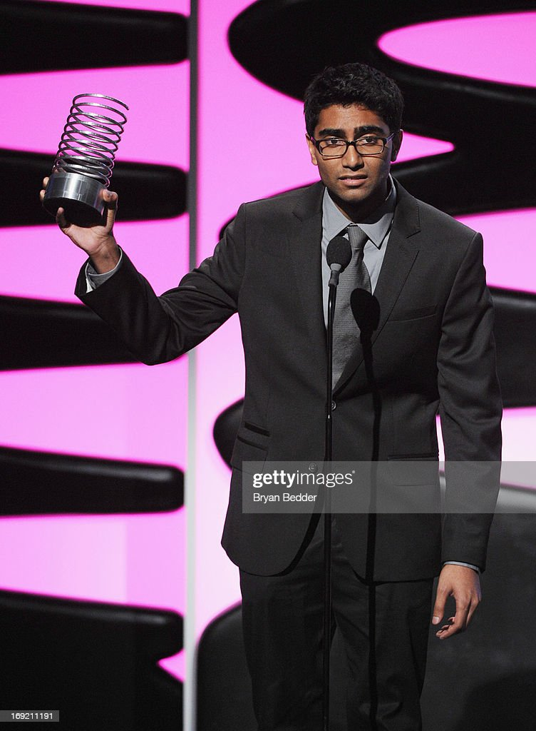 Jermaine Affonso accept the Webby award for The Onion onstage at the 17th Annual Webby Awards at Cipriani Wall Street on May 21, 2013 in New York City.