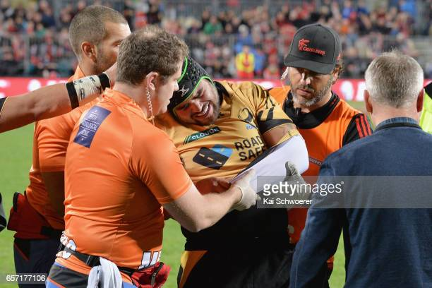 Jermaine Ainsley of the Force receives medical help during the round five Super Rugby match between the Crusaders and the Force at AMI Stadium on...
