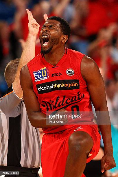 Jermaine Beal of the Wildcats celebrates a three pointer during the round 10 NBL match between the Perth Wildcats and Melbourne United at Perth Arena...