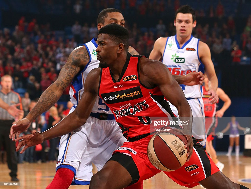Jermaine Beal of the Wildcats drives to the basket during the round one NBL match between the Perth Wildcats and the Adelaide 36ers at Perth Arena in October 11, 2013 in Perth, Australia.