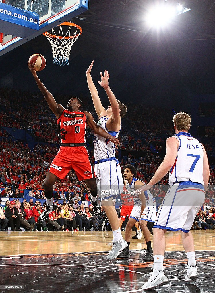 Jermaine Beal of the Wildcats lays up during the round one NBL match between the Perth Wildcats and the Adelaide 36ers at Perth Arena in October 11, 2013 in Perth, Australia.
