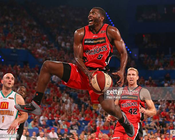 Jermaine Beal of the Wildcats looks to layup during the round 21 NBL match between the Perth Wildcats and the Townsville Crocodiles at Perth Arena in...