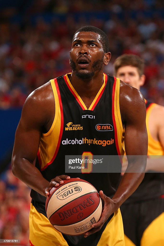 Jermaine Beal of the Wildcats prepares to shoot a free throw during the round 19 NBL match between the Perth Wildcats and the Melbourne Tigers at Perth Arena on February 21, 2014 in Perth, Australia.