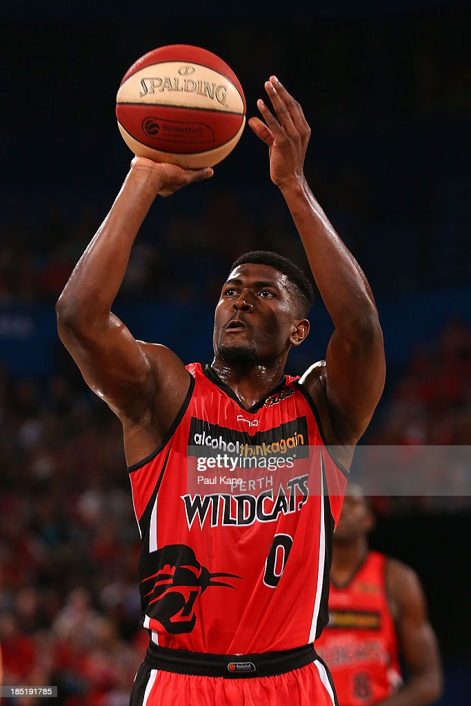 Jermaine Beal of the Wildcats shoots a free throw during the round two NBL match between the Perth Wildcats and the Sydney Kings at Perth Arena in October 18, 2013 in Perth, Australia.