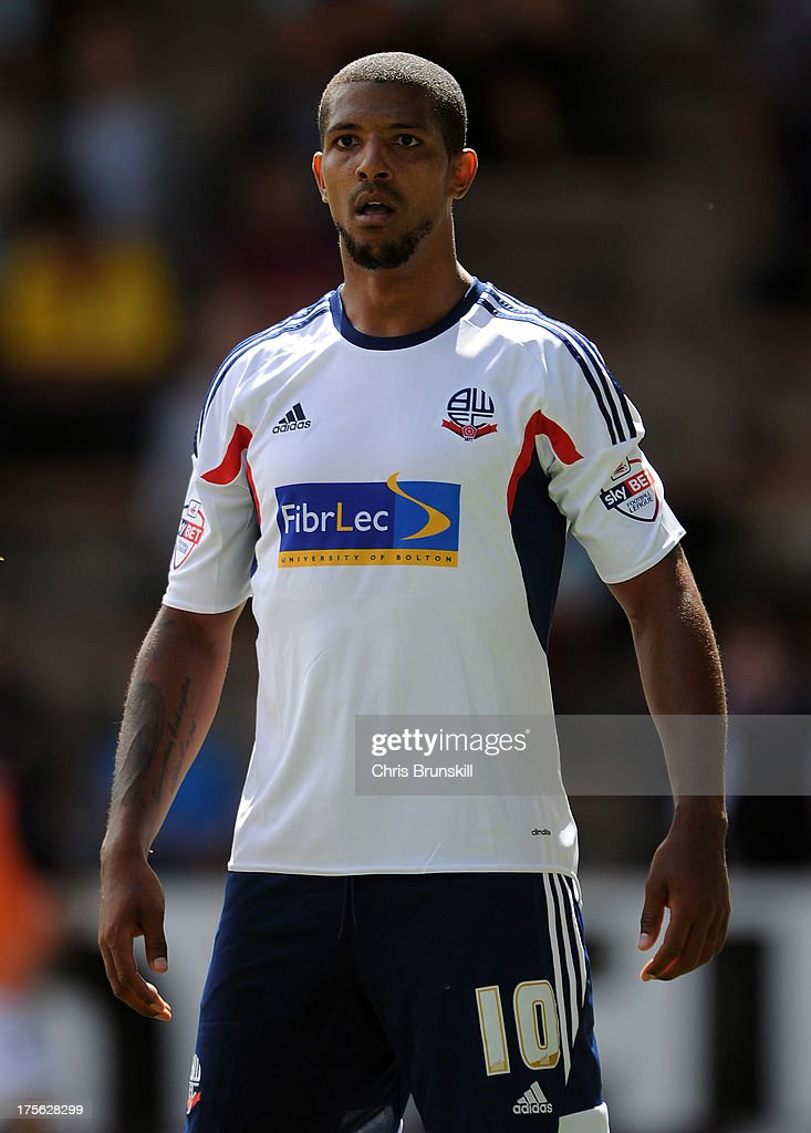 <a gi-track='captionPersonalityLinkClicked' href=/galleries/search?phrase=Jermaine+Beckford&family=editorial&specificpeople=3132377 ng-click='$event.stopPropagation()'>Jermaine Beckford</a> of Bolton Wanderers looks on during the Sky Bet Championship match between Burnley and Bolton Wanderers at Turf Moor on August 03, 2013 in Burnley, England.