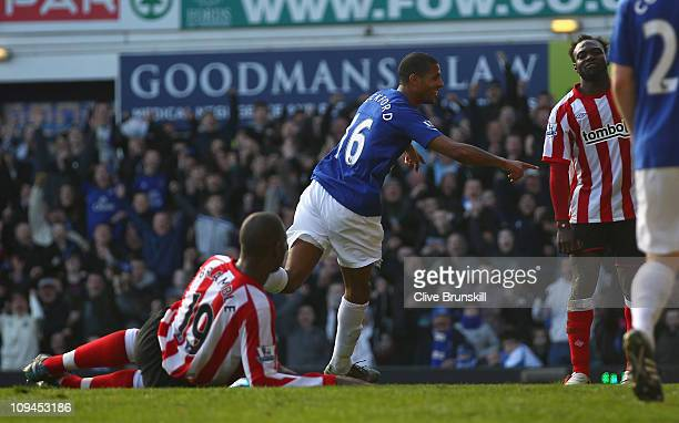 Jermaine Beckford of Everton celebrates after scoring his second goal during the Barclays Premier League match between Everton and Sunderland at...