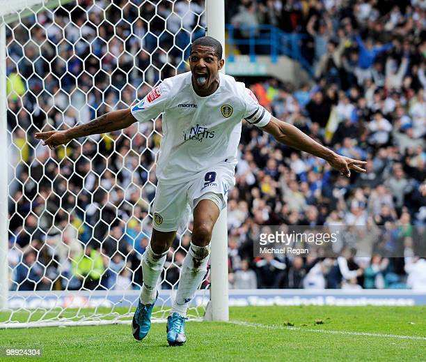 Jermaine Beckford of Leeds United celebrates scoring the 21 goal during the Coca Cola League One match between Leeds United and Bristol Rovers at...