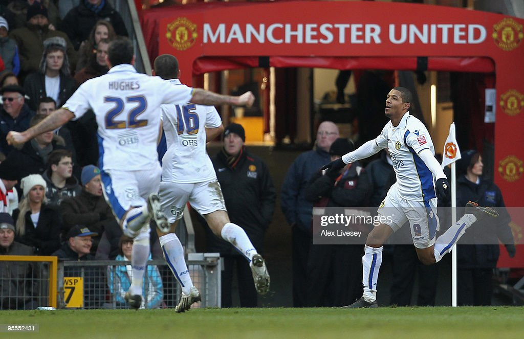Jermaine Beckford of Leeds United celebrates scoring the opening goal during the FA Cup sponsored by EON 3rd Round match between Manchester United...