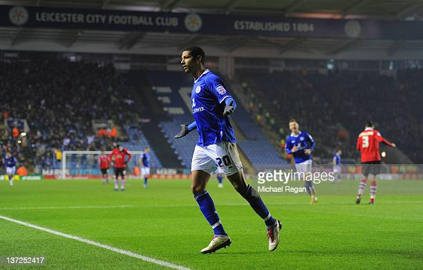 Jermaine Beckford of Leicester celebrates scoring to make it 30 during the FA Cup Third Round Replay between Nottingham Forest and Leicester City at...