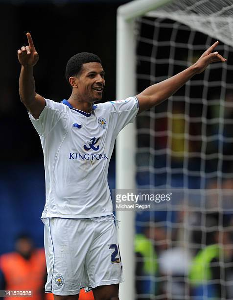 Jermaine Beckford of Leicester City celebrates scoring their first goal during the FA Cup sixth round match between Chelsea and Leicester City at...