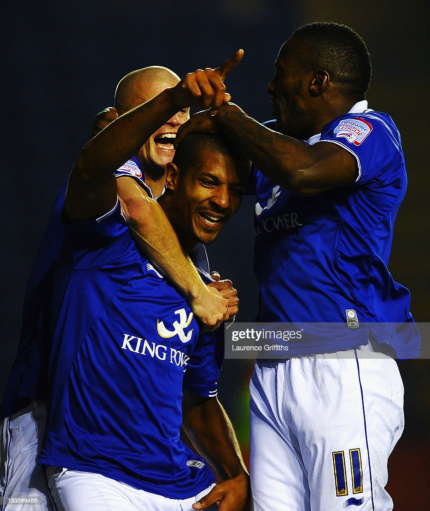<a gi-track='captionPersonalityLinkClicked' href=/galleries/search?phrase=Jermaine+Beckford&family=editorial&specificpeople=3132377 ng-click='$event.stopPropagation()'>Jermaine Beckford</a> of Leicester City is mobbed after scoring the opening goal during the npower Championship match between Leicester City and Crystal Palace at Walkers Stadium on November 20, 2011 in Leicester, England.