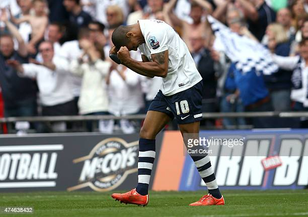 Jermaine Beckford of Preston North End celebrates after scoring his hat trick during the League One playoff final between Preston North End and...