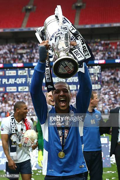 Jermaine Beckford of Preston North End celebrates after winning the League One playoff final between Preston North End and Swindon Town at Wembley...