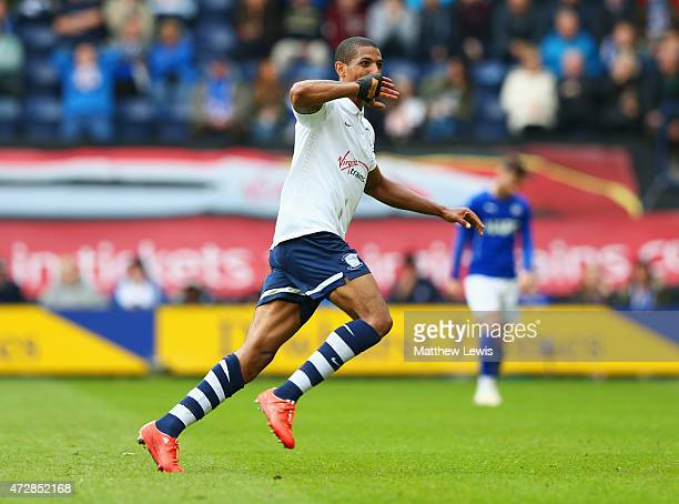 Jermaine Beckford of Preston North End celebrates as he scores their third goal during the Sky Bet League One Playoff SemiFinal second leg match...