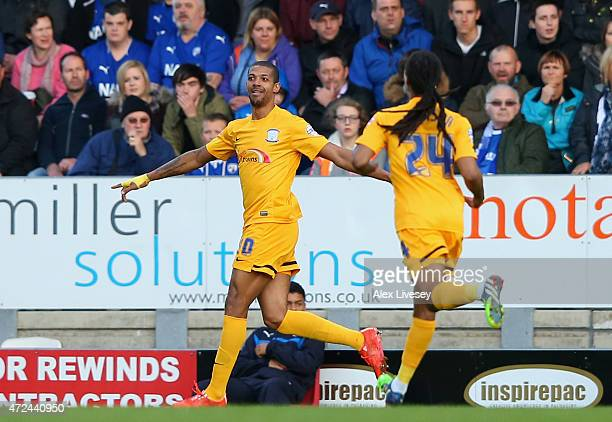 Jermaine Beckford of Preston North End celebrates his goal during the Sky Bet League One Playoff SemiFinal first leg match between Chesterfield and...