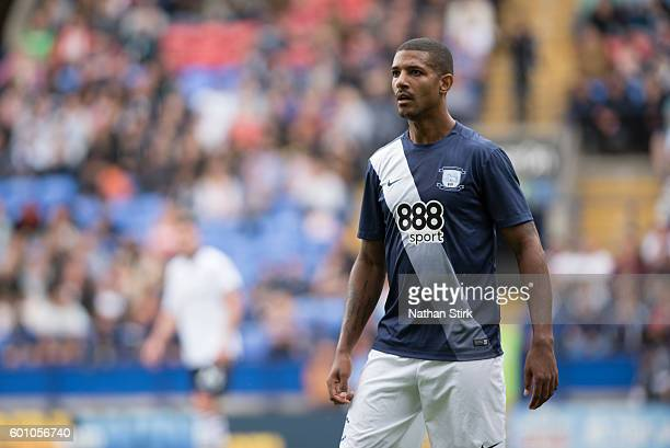 Jermaine Beckford of Preston North End during the PreSeason Friendly between Bolton Wanderers and Preston North End at Macron Stadium on July 30 2016...