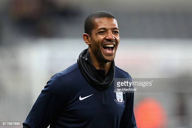 Jermaine Beckford of Preston North End reacts during the warm up prior to the EFL Cup fourth round match between Newcastle United and Preston North...