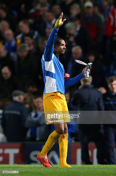 Jermaine Beckford of Preston North End salutes his fans after the the Sky Bet League One Playoff SemiFinal first leg match between Chesterfield and...