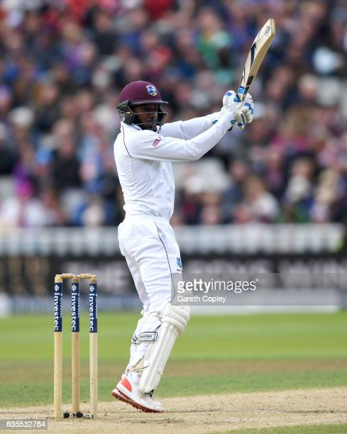 Jermaine Blackwood of the West Indies bats during day three of the 1st Investec Test between England and the West Indies at Edgbaston on August 19...