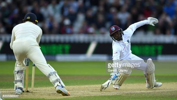 Jermaine Blackwood of the West Indies is stumped by England wicketkeeper Jonathan Bairstow during day three of the 1st Investec Test between England...