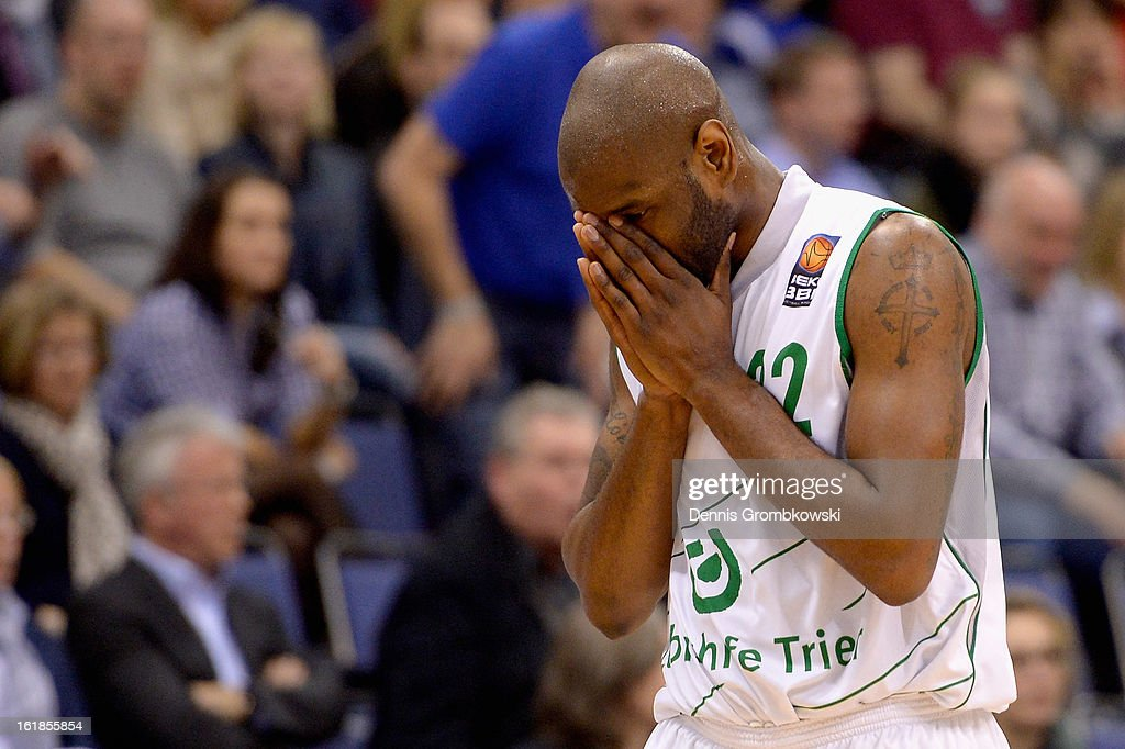 Jermaine Bucknor of Trier reacts during the Beko BBL Basketball Bundesliga match between TBB Trier and Brose Baskets on February 17, 2013 in Trier, Germany.