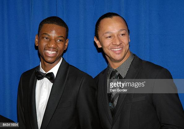 Jermaine Crawford and musician Frederic Yonnet attend the HOPE Inaugural Youth Ball at Trinity Center at Trinity University on January 17 2009 in...
