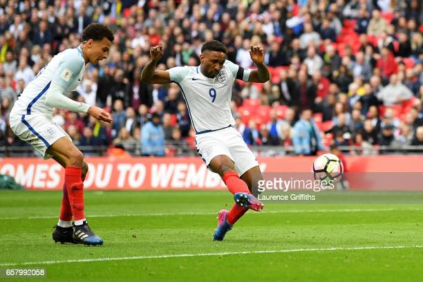 Jermaine Defoe of England scores his sides first goal during the FIFA 2018 World Cup Qualifier between England and Lithuania at Wembley Stadium on...