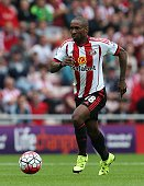 Jermaine Defoe of Sunderland in action during the Barclays Premier League match between Sunderland and Swansea City at Stadium of Light on August 22...