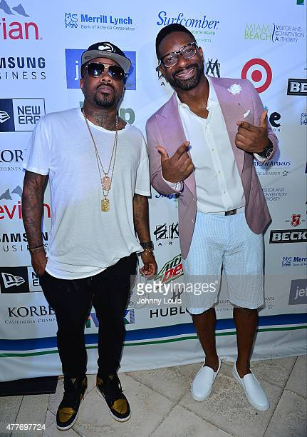 Jermaine Dupri and DJ Irie attend the VIP KickOff Concert during the 11th Annual Irie Weekend at Kimpton Surfcomber Hotel on June 18 2015 in Miami...