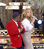 Jermaine Dupri and Mariah Carey during Mariah Carey Performs on 'Good Morning America' April 12 2005 at Times Square in New York City New York United...