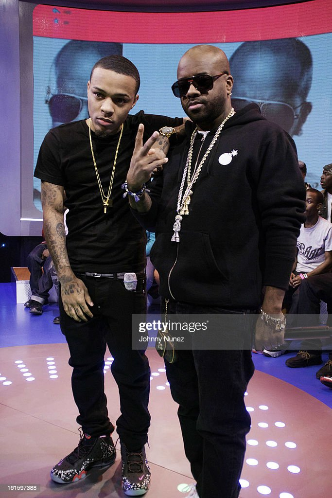<a gi-track='captionPersonalityLinkClicked' href=/galleries/search?phrase=Jermaine+Dupri&family=editorial&specificpeople=201712 ng-click='$event.stopPropagation()'>Jermaine Dupri</a> (r) visits BET's '106 & Park' with host <a gi-track='captionPersonalityLinkClicked' href=/galleries/search?phrase=Bow+Wow+-+Rapper&family=editorial&specificpeople=211211 ng-click='$event.stopPropagation()'>Bow Wow</a> (L) at BET Studios on February 11, 2013 in New York City.