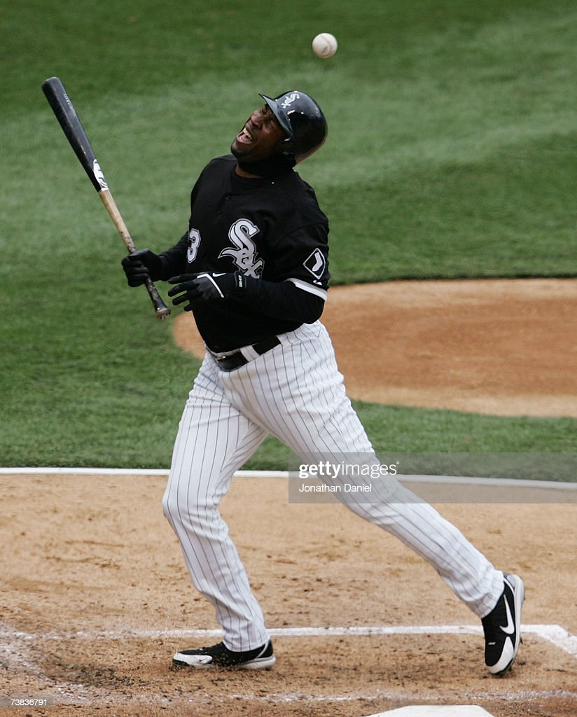 Jermaine Dye #23 of the Chicago White Sox reacts after being hit by a pitch from Carlos Silva of the Minnesota Twins on April 7, 2007 at U.S. Cellular Field in Chicago, Illinois. The White Sox defeated the Twins 3-0.