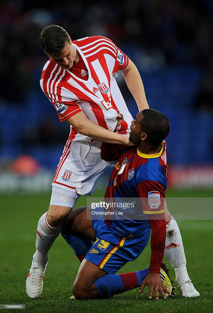 Jermaine Easter of Crystal Palace and <a gi-track='captionPersonalityLinkClicked' href=/galleries/search?phrase=Robert+Huth&family=editorial&specificpeople=206878 ng-click='$event.stopPropagation()'>Robert Huth</a> of Stoke during the FA Cup with Budweiser Third Round match between Crystal Palace and Stoke City at Selhurst Park on January 5, 2013 in London, England.