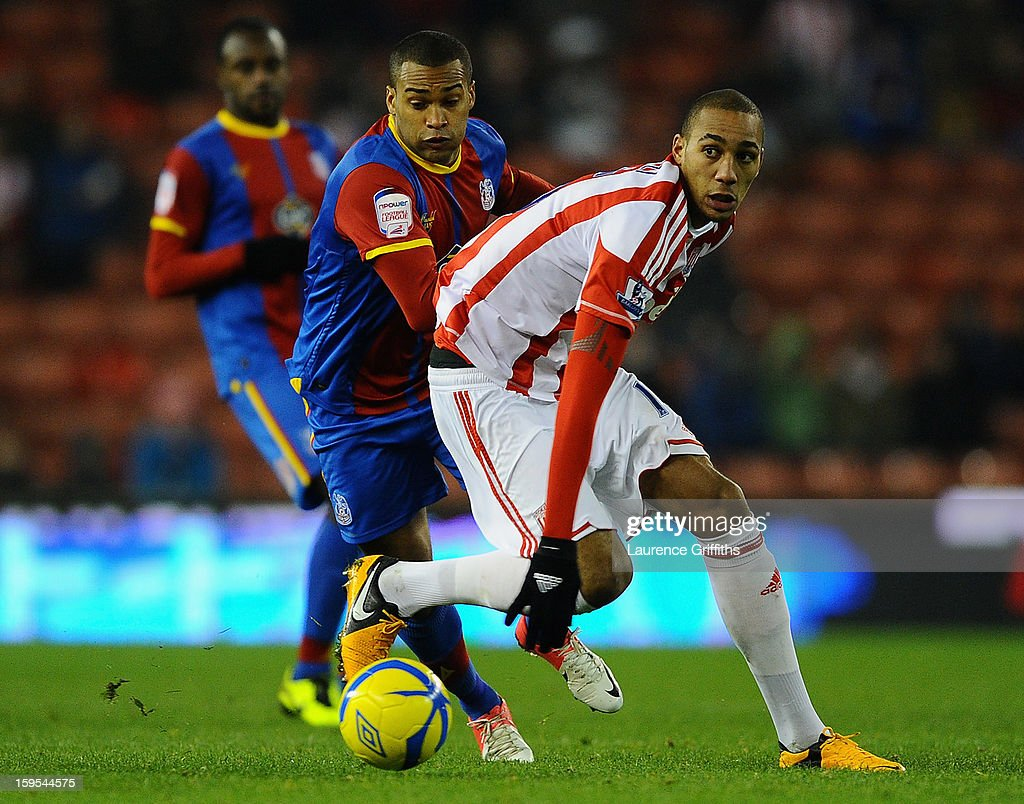 Jermaine Easter of Crystal Palace battles with Steven Nzonzi of Stoke City during the FA Cup with Budweiser Third Round replay match between Stoke City and Crystal Palace at Britannia Stadium on January 15, 2013 in Stoke on Trent, England.