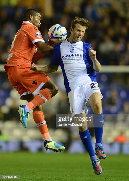 Jermaine Easter of Millwall battles with Jonathan Spector of Birmingham city during the Sky Bet Championship match between Birmingham City and...