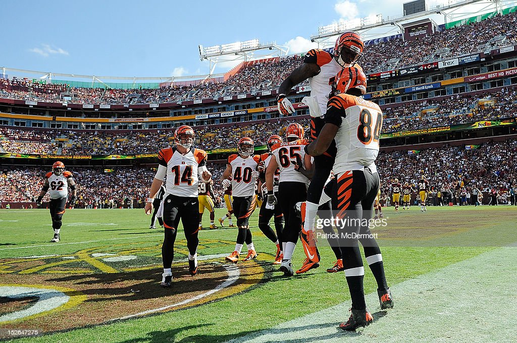 Jermaine Gresham celebrates with Mohamed Sanu of the Cincinnati Bengals after scoring a touchdown on a 6yard pass from Andy Dalton in the second half...