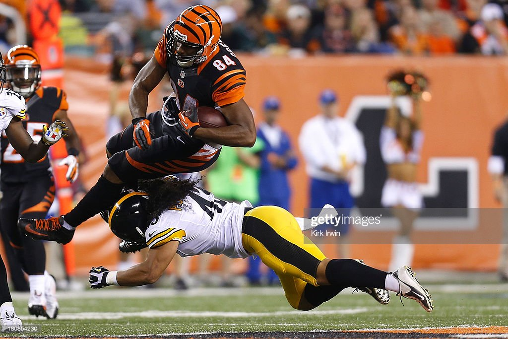 <a gi-track='captionPersonalityLinkClicked' href=/galleries/search?phrase=Jermaine+Gresham&family=editorial&specificpeople=4023341 ng-click='$event.stopPropagation()'>Jermaine Gresham</a> #84 of the Cincinnati Bengals is tackled by <a gi-track='captionPersonalityLinkClicked' href=/galleries/search?phrase=Troy+Polamalu&family=editorial&specificpeople=206488 ng-click='$event.stopPropagation()'>Troy Polamalu</a> #43 of the Pittsburgh Steelers during the third quarter on September 16, 2013 at Paul Brown Stadium on September 16, 2013 in Cincinnati, Ohio. Cincinnati defeated Pittsburgh 20-10.