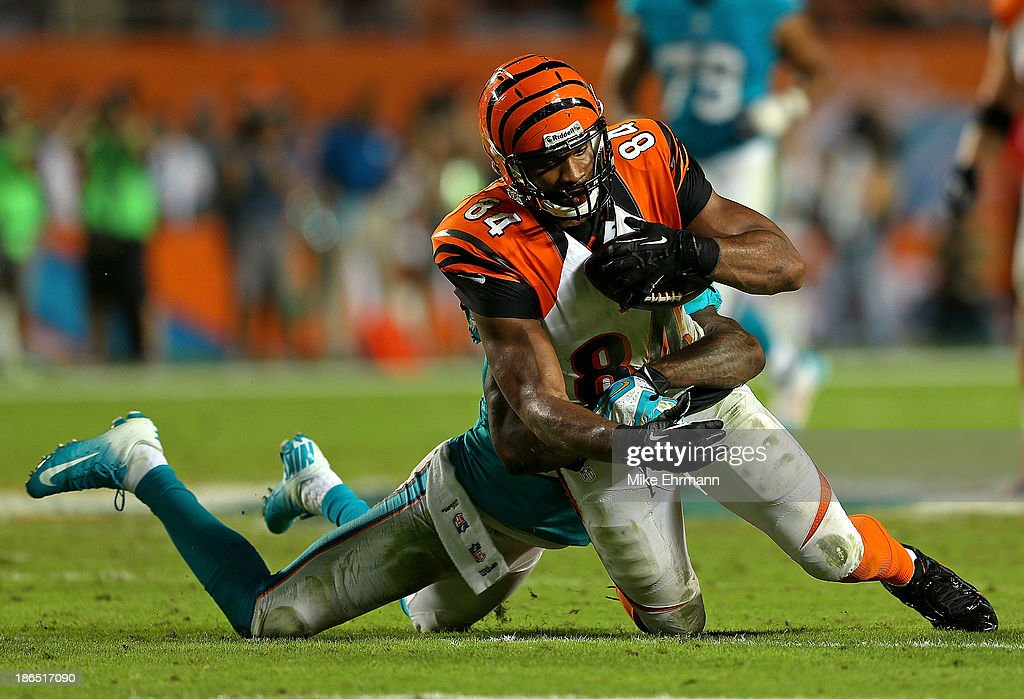 Jermaine Gresham #84 of the Cincinnati Bengals is tackled during a game against the Miami Dolphins at Sun Life Stadium on October 31, 2013 in Miami Gardens, Florida.