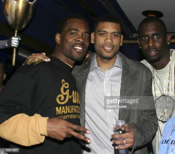 Jermaine Jackson Allan Houston and Tim Thomas during Allan Houston Birthday Party at Supper Club in New York City New York United States