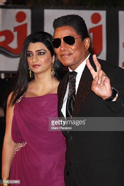 Jermaine Jackson and Halima Rashid attend the NRJ Music Awards 2011 on January 22 2011 in Cannes France