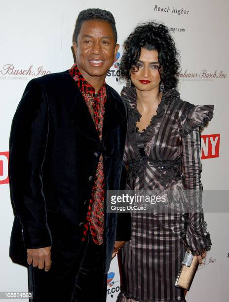 Jermaine Jackson and Halima Rashid during Ebony 2007 PreOscar Celebration Arrivals at Jim Henson Studios in Hollywood California United States