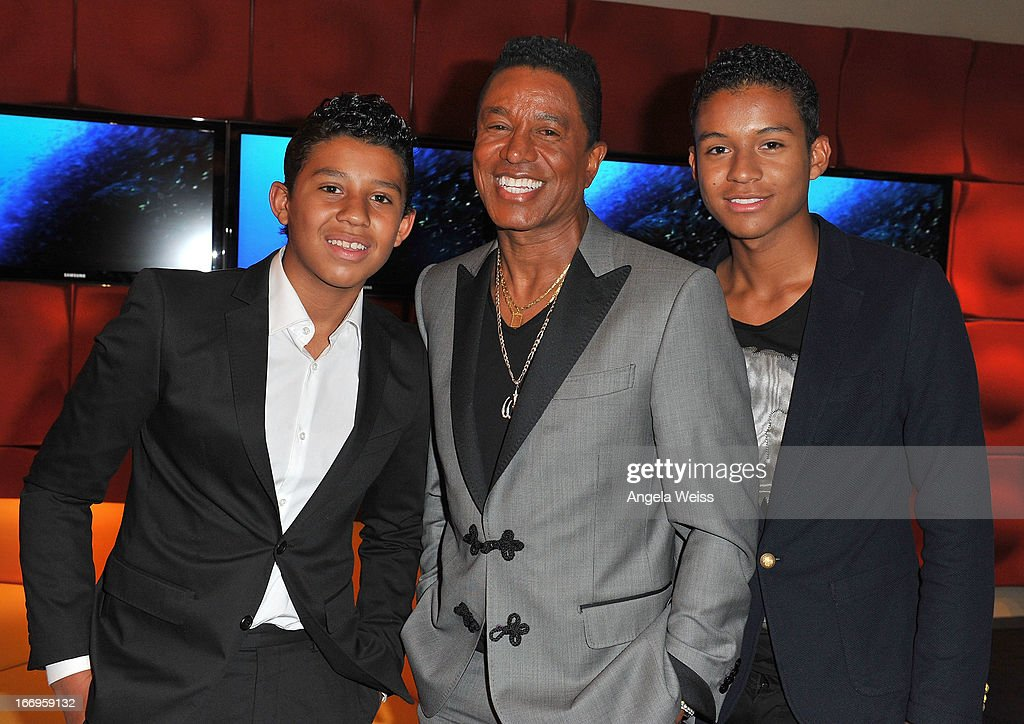 <a gi-track='captionPersonalityLinkClicked' href=/galleries/search?phrase=Jermaine+Jackson&family=editorial&specificpeople=204742 ng-click='$event.stopPropagation()'>Jermaine Jackson</a> (C) and his sons Jermajesty Jackson and Jaafar Jackson attend the US launch of 'Planet Ocean' presented by Omega Watches at Pacific Design Center on April 18, 2013 in West Hollywood, California.