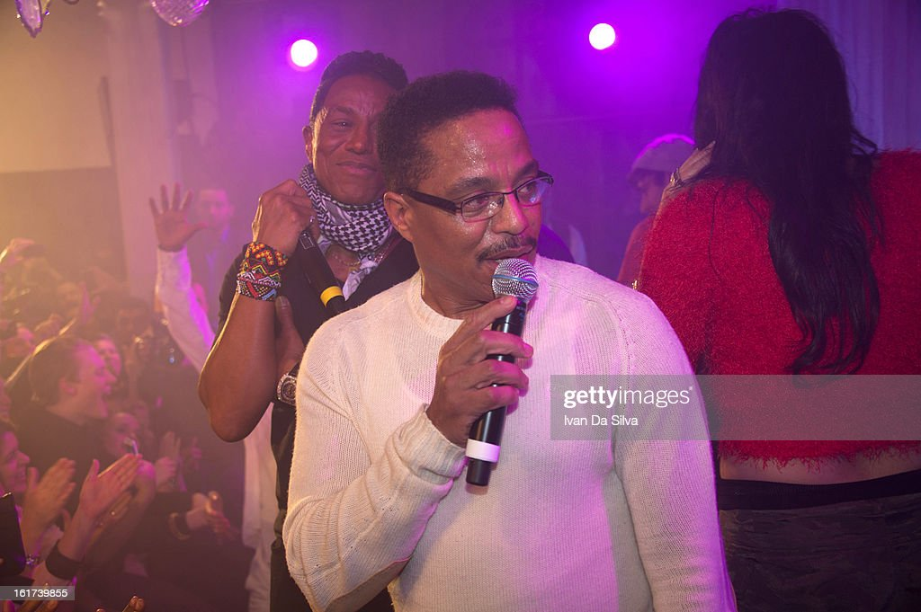Jermaine Jackson and Marlon Jackson of The Jacksons performs with Wyclef Jean at Cafe Opera on February 14, 2013 in Stockholm, Sweden.