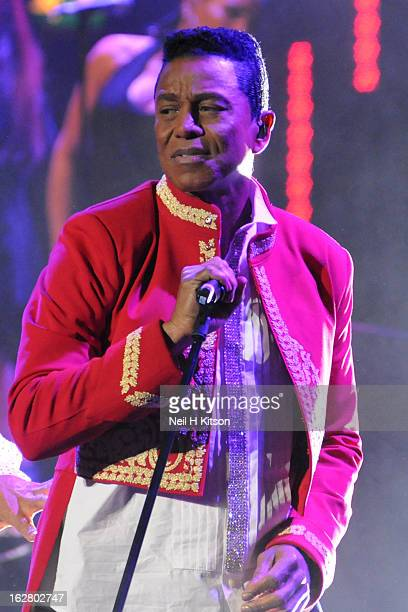 Jermaine Jackson of the Jacksons performs on stage in concert at Manchester Apollo on February 27 2013 in Manchester England