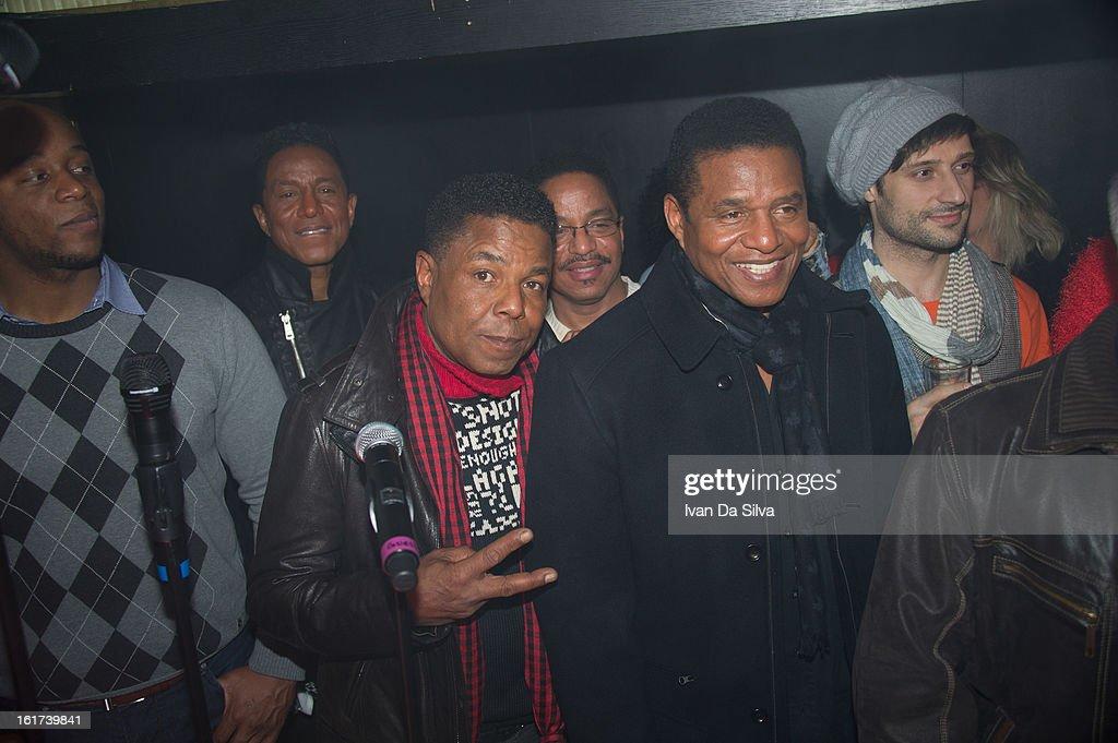 Jermaine Jackson, Tito Jackson, Marlon Jackson and Jackie Jackson of The Jacksons perform at Cafe Opera on February 14, 2013 in Stockholm, Sweden.