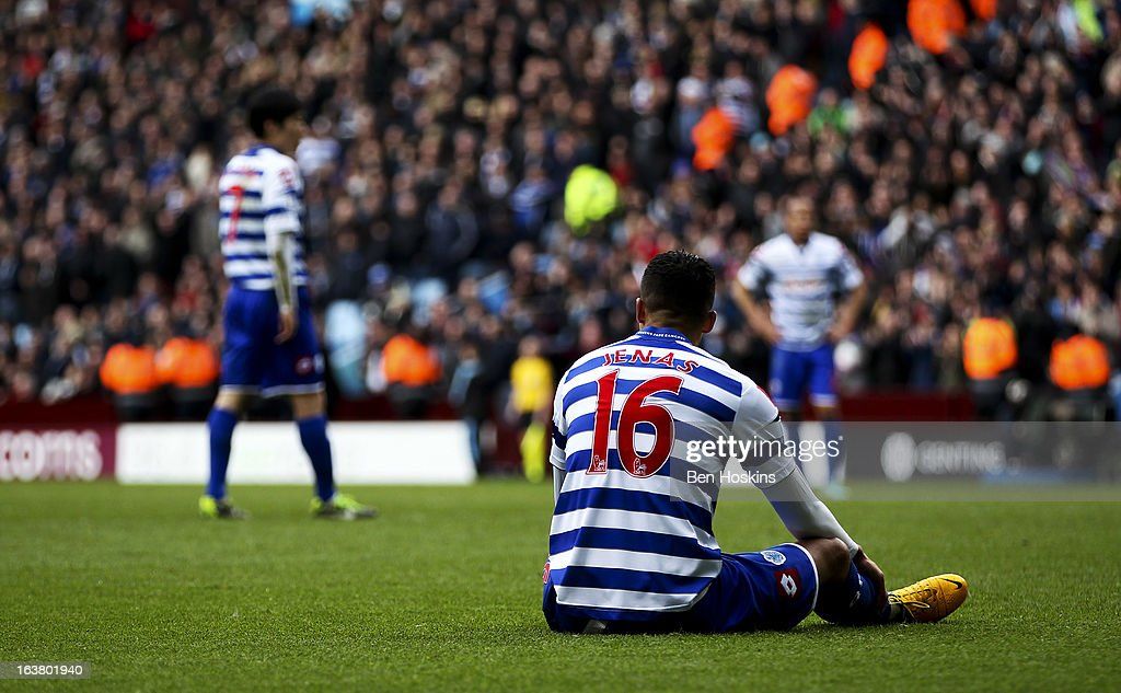 <a gi-track='captionPersonalityLinkClicked' href=/galleries/search?phrase=Jermaine+Jenas&family=editorial&specificpeople=212775 ng-click='$event.stopPropagation()'>Jermaine Jenas</a> of QPR sits dejected after QPR concede their third goal of the game during the Barclays Premier League match between Aston Villa and Queens Park Rangers at Villa Park on March 16, 2013 in Birmingham, England.