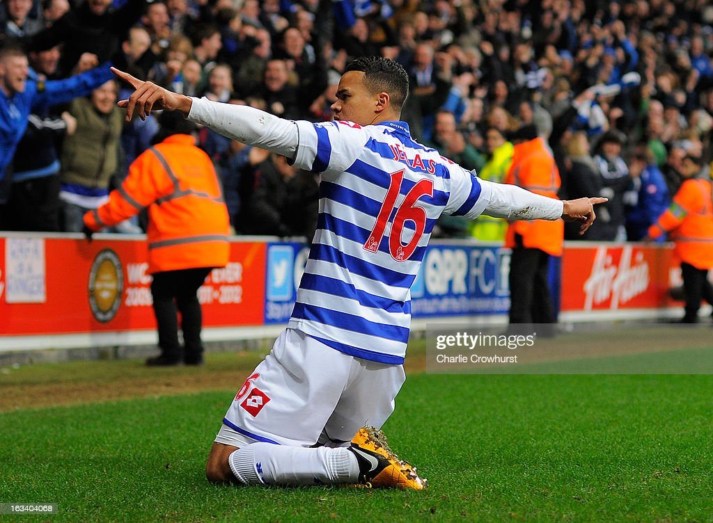 Jermaine Jenas of Queens Park Rangers celebrates scoring their third goal during the Barclays Premier League match between Queens Park Rangers and Sunderland at Loftus Road on March 9, 2013 in London, England.