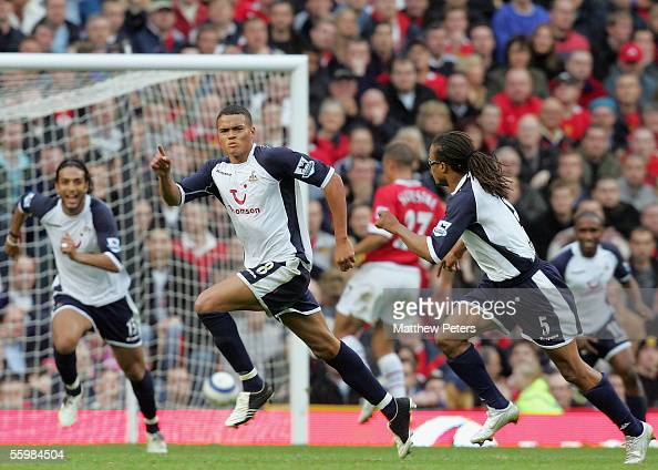 Jermaine Jenas of Tottenham Hotspur celebrates scoring the second goal during the Barclays Premiership match between Manchester United and Tottenham...